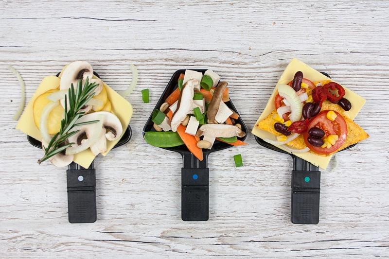 Raclette Vegan drei Pfännchen asiatisch mexikanisch klassisch